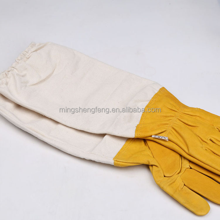 Beekeeping Tools/50cm Protection 100% cotton Leather Bee Glove From China Super Factory