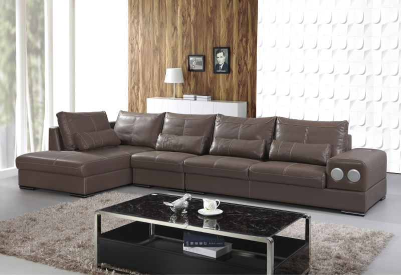 2014 New design living room sofa set was made from wood frame+high density sponge+genuine leather for living room furniture
