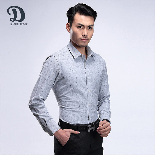 2017 New fashion long sleeve button mens cotton shirt
