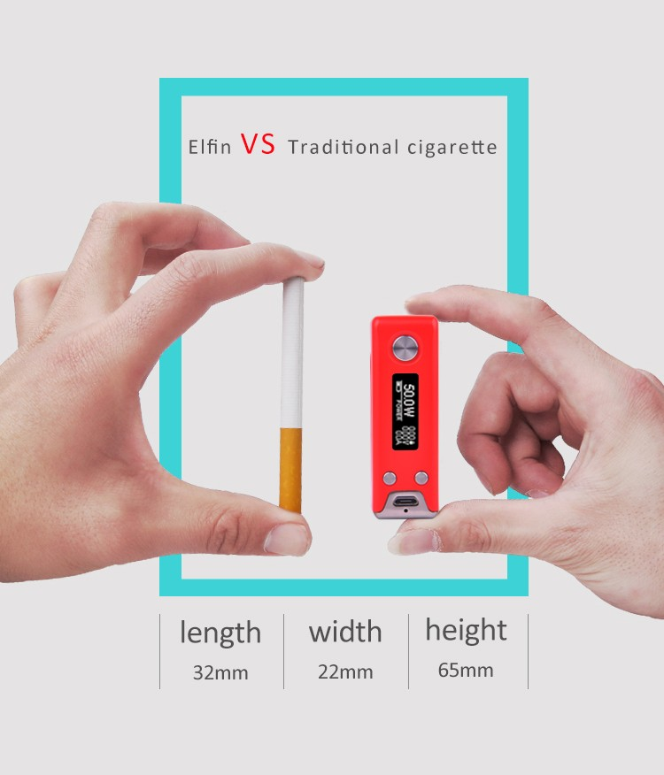 S-body hottest Elfin 50w electronic cigarette orgrin mod with top quality
