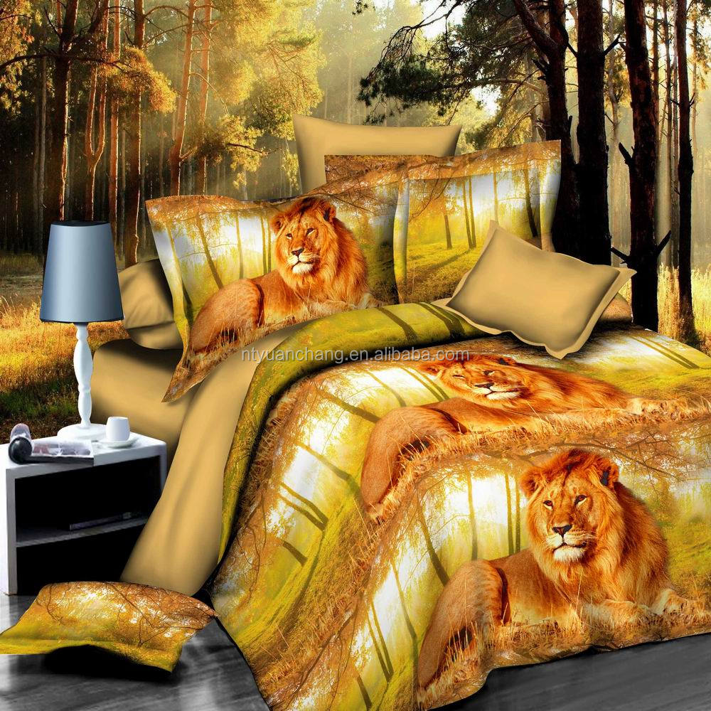 3d lion king printed animal bedding set for teenagers
