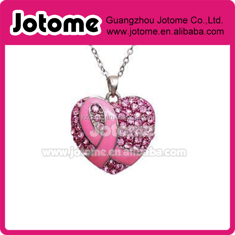 Pink Ribbon Breast Cancer Awareness Heart Rhinestone Pendant