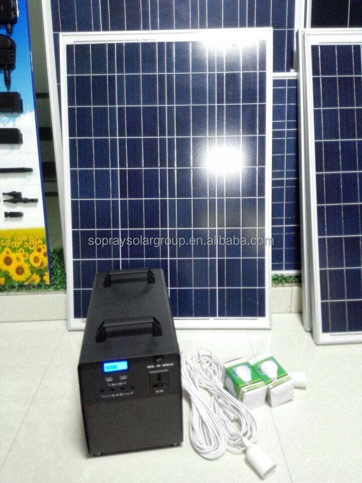 100 watt portable solar system for home/camping use with led bulbs and phone charger