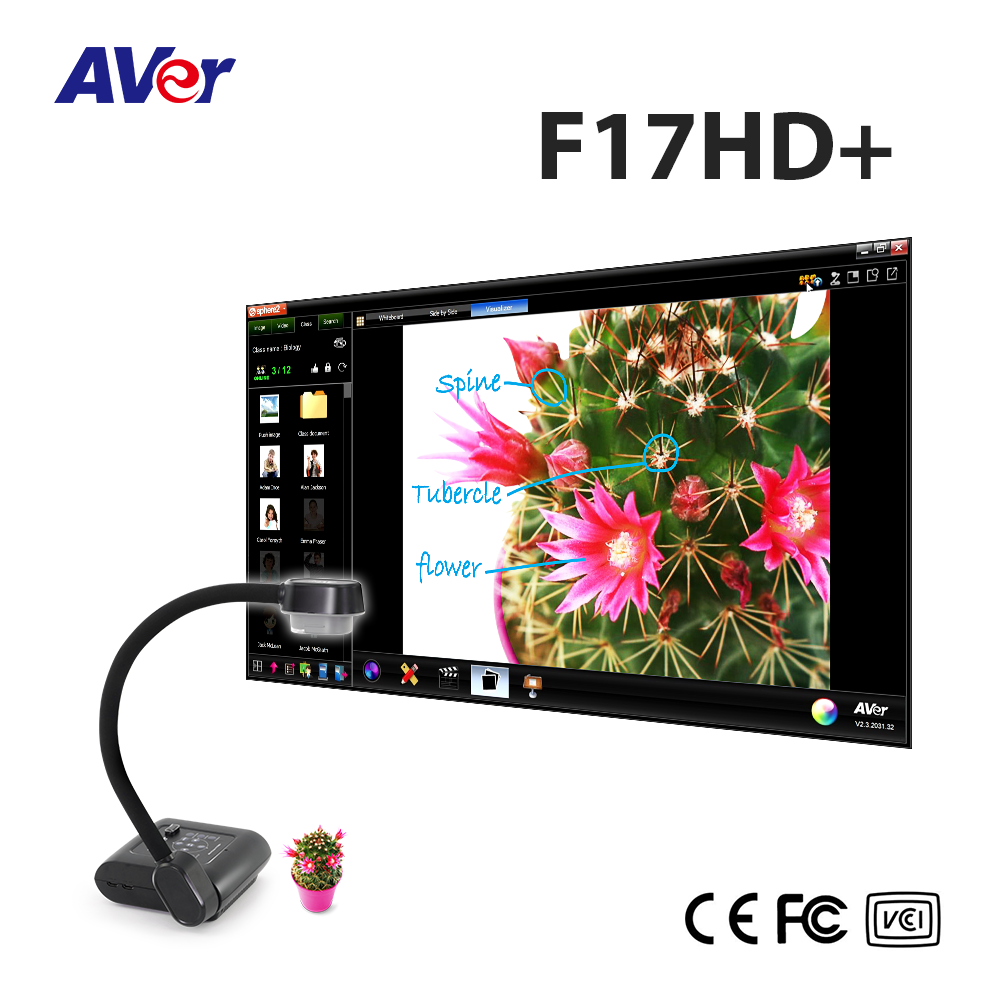 AVer AVerVision F17HD+ visualizer (document camera), 5M, 32X zoom capabilities and image streaming via HDMI