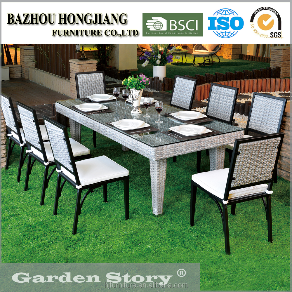 131C Gardern Furniture Glass Dining Table 6 Chairs Set