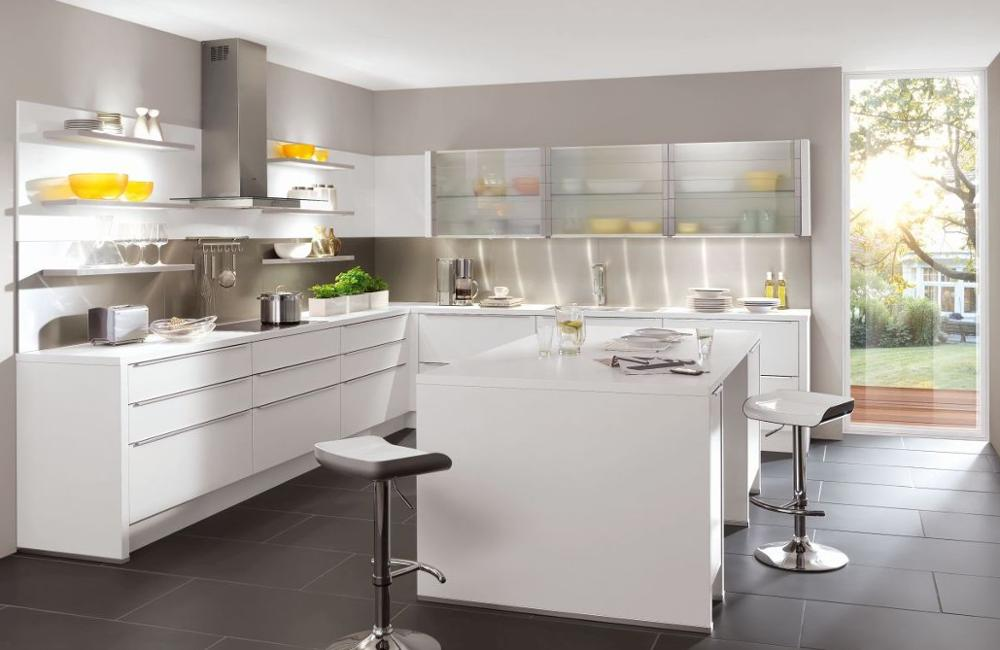 White Lacquer MDF Base Kitchen Cabinets, Glass Wall Kitchen Cabinets Modern With Colorful LED Lights
