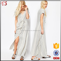 Manufacturers natural woven striped dress wholesale maxi dresses women 2016