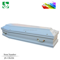 JS-UK226 white wooden european style cheap coffin for sale