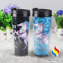 12oz Double Wall clear changeable paper insert plastic travel mug