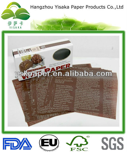 Newspaper printed wax paper