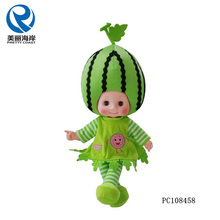 Plastic Head Vegetables Watermelon Fruit Stuffed Dolls Plush Toy Fruit Doll