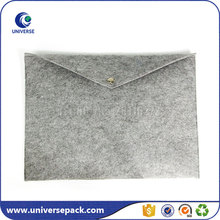 Light Grey Embroidered Felt Document Bag Envelope With Button Close