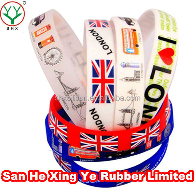 colourful printed london 2012 olympic games silicone wristbands, silicone wristband whistle,cheap silicone wristbands wholesale