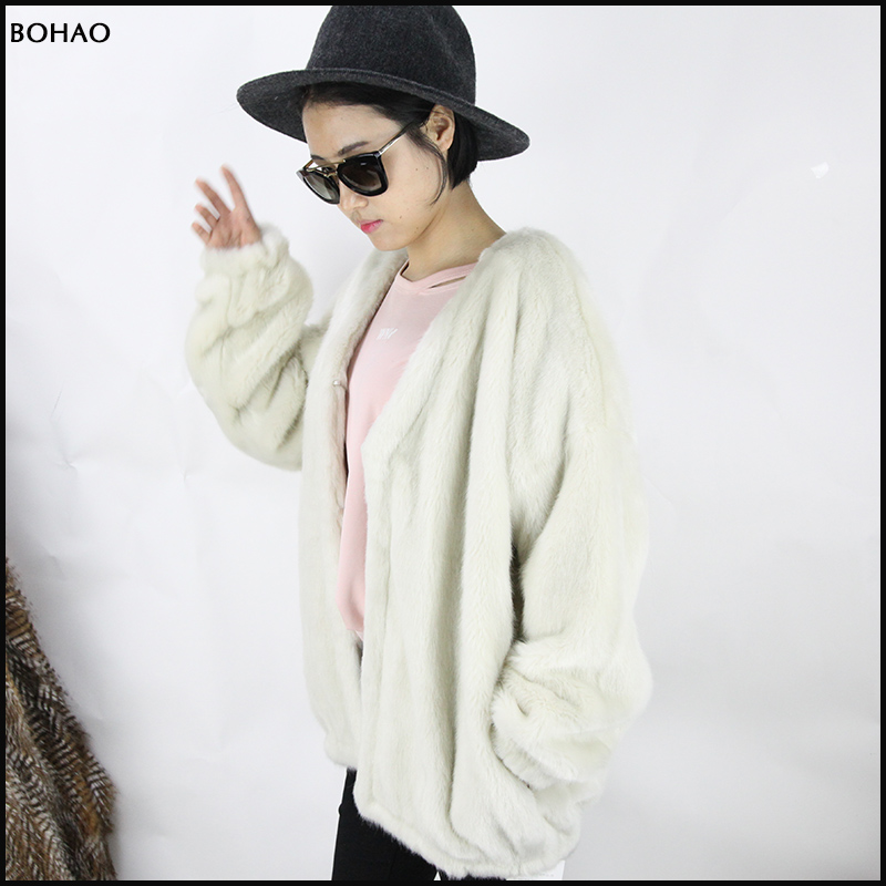 Soft Touching Smoothly Feeling Short Pattern Simple Style Ladies Fur Jacket