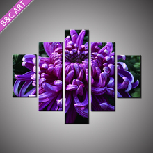 Indian Home Decor Items Village Landscape Purple Flower Wall Design Painting with Stretcher