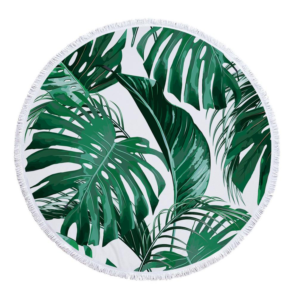 Amazon best selling Beautiful Printed Leaf Beach <strong>Towel</strong>, Sand Free Round Beach <strong>Towel</strong> with Fringes