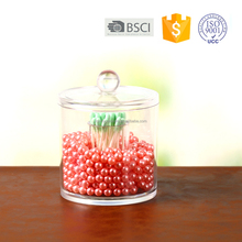 Clear Acrylic Round Cotton Ball Jar/Plexiglass Swab Holder /Lucite Q-tips organizer with Lid