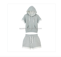 short sleeve hoodies suits with hood/wholsesale french terry short sleeve hoodies suit for women/Casual Sport Suit