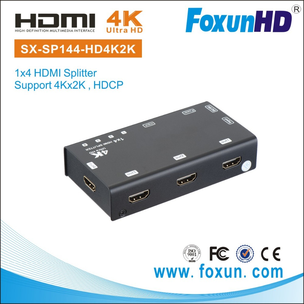 4K2K 3D HDCP comply 1x4 HDMI distributor audio / video amplifier hdmi splitter 1 in 4 out