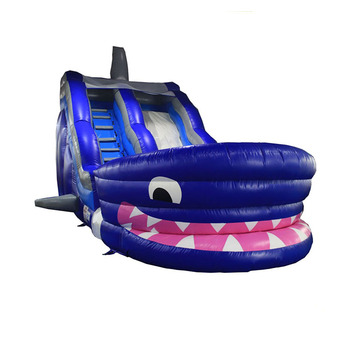 Latest design shark inflatable water slide, commercial inflatable shark water slides for sale