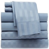 solid color cotton sateen stripe bedding sheet set for home use and hotel