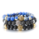Men Bali Bead Bracelet Fashion Men'S Black Lava Stone Gold Ball