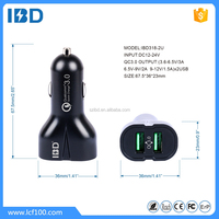 IBD Newest Design qualcomm quick charge 3.0 OEM 9v 12V smart phone car charger for samsung galaxy s7/huawei p9
