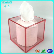Color transparent red acrylic tissue boxes & lucite Square napkin box