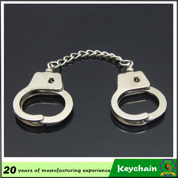 promotional metal mini unique handcuff keychain personalized keyring