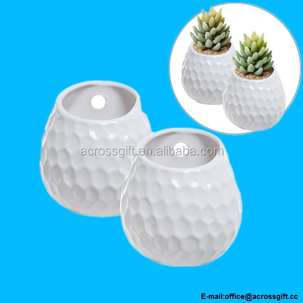 Set of 2 Golf Ball Inspired White Wall Mounted Ceramic Decor Plant Display Vase Pots