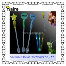 custom print logo LED glowing stirrer for party