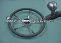stainless steel steering wheel-W/PU foam & knob /marine fittings/boat wheel,ISURE MARINE