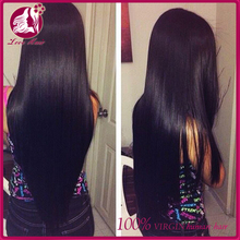 "Top Quanlity 8""-26"" Stock Natural Color Silky Straight Full Lace Wigs 100% Peruvian Virgin Human hair wig"