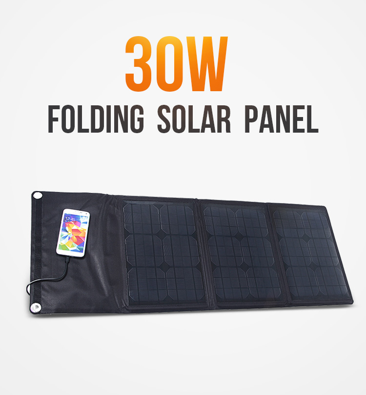 portable 30W solar panel charger for outdoor camping