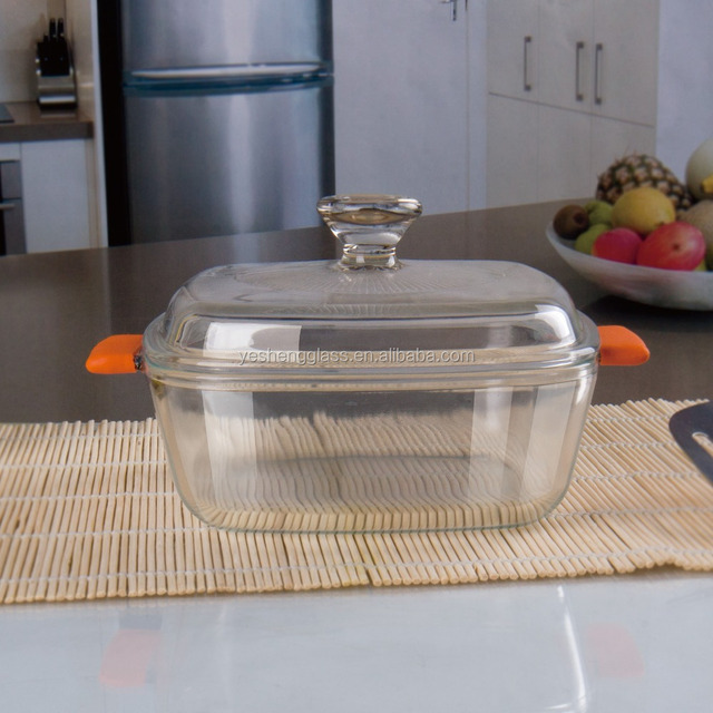 Small square baking glass casserole with lid/SGS testing/Microwave safe silicone handle