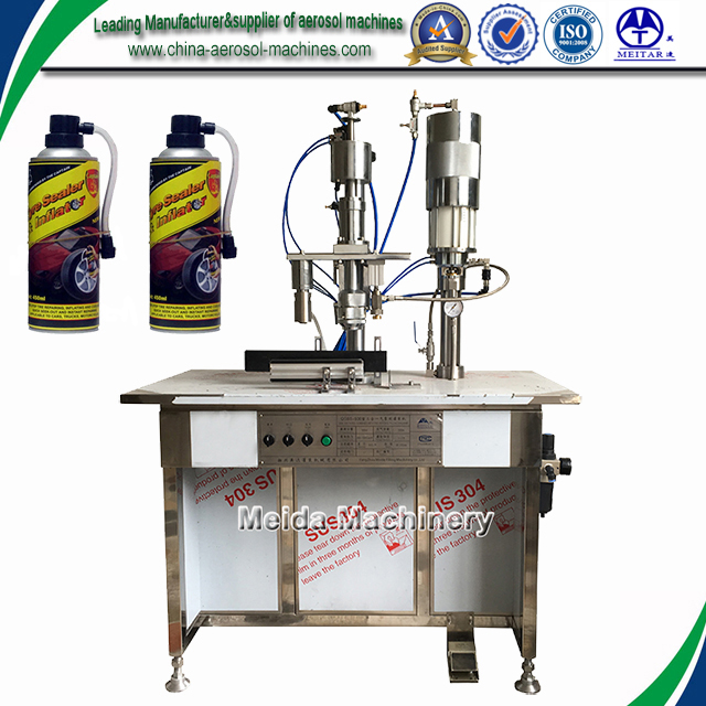 Semi-automatic tyre sealant and inflator filling machine