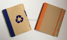 Customize hardcover kraft mini notepad with pen,paper notebook
