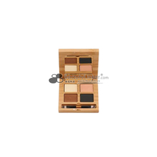 Make your own brand wooden 4 color eyeshadow or blush bamboo makeup cosmetic packaging container