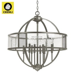 unique 8 lights Graphite iron candle glass surface globe shape chandeliers