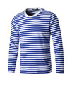 OEM Men Crew Neck T shirt Striped Long Sleeves Tee Poly-Cotton Causal T-Shirt Plain color Tops