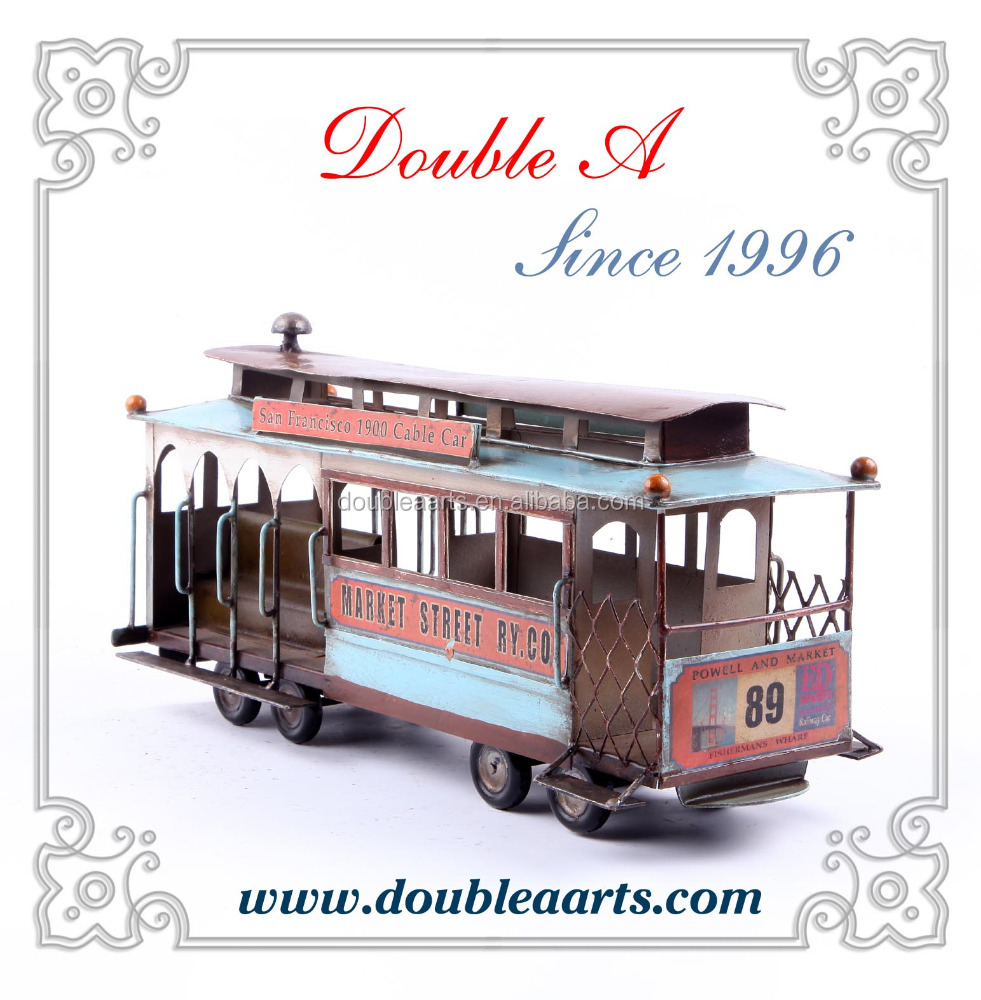 Wholesale metal crafts vintage metal car model classic london bus model hand made home decor