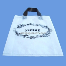 Alibaba China Clear Logo Printed Packing Recyclable PE Loop Handle Plastic Bag