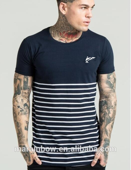 Custom Cotton Spandex Mens Gym Fitted T Shirt Fashion Striped T Shirt 2 Tone T Shirt Wholesale Mens Clothing