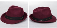 Men's fashion 100% wool felt fedora hat many colors available