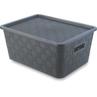 12L black PP wicker boxes,plastic rattan laundry basket with lid