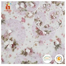 Huilun Textile high quality 3D flower printed chiffon plain woven embroidery fabric 100 polyester