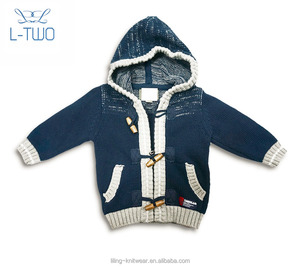 baby sweater/baby boy's sport hoodie jacket zipper cardigan sweater with jacquard design