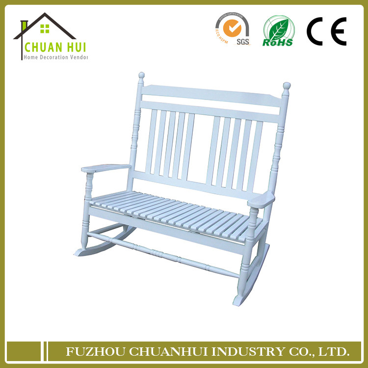 New High Quality Bench White Double Unfinished Outside Wood Rocking Chair