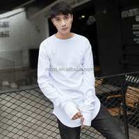 The wholesale price of 2017 new blank pure organic cotton autumn long sleeve long t shirt