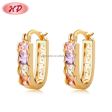 wholesale price bulk cheap 18K gold plated zircon Huggies earrings in 2016 fashion jewelry